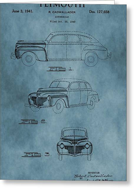 Mechanics Mixed Media Greeting Cards - 1941 Plymouth Patent Blue Greeting Card by Dan Sproul