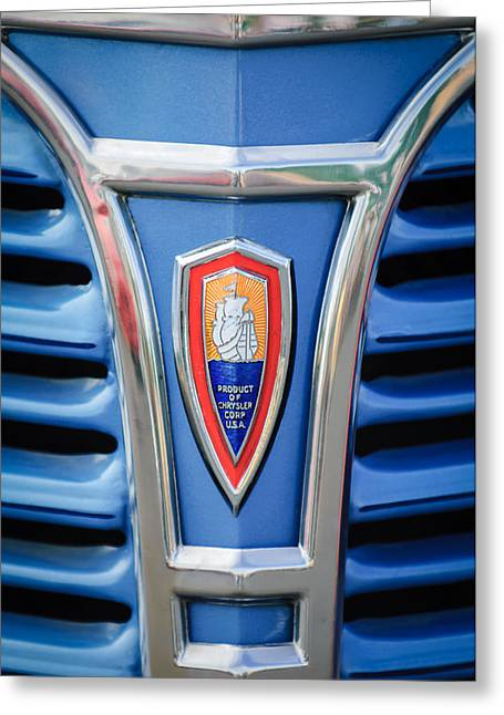Classic Pickup Greeting Cards - 1941 Plymouth Pickup Truck Emblem Greeting Card by Jill Reger