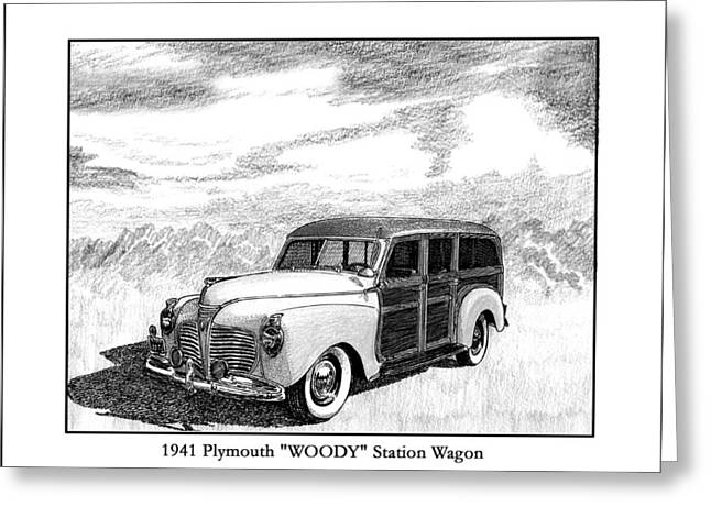 Pen And Ink Framed Prints Greeting Cards - 1941 Plymouth Woody Greeting Card by Jack Pumphrey