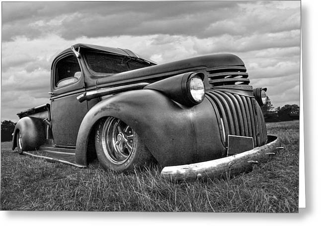 Old Pickup Greeting Cards - 1941 Rusty Chevrolet in Black and White Greeting Card by Gill Billington