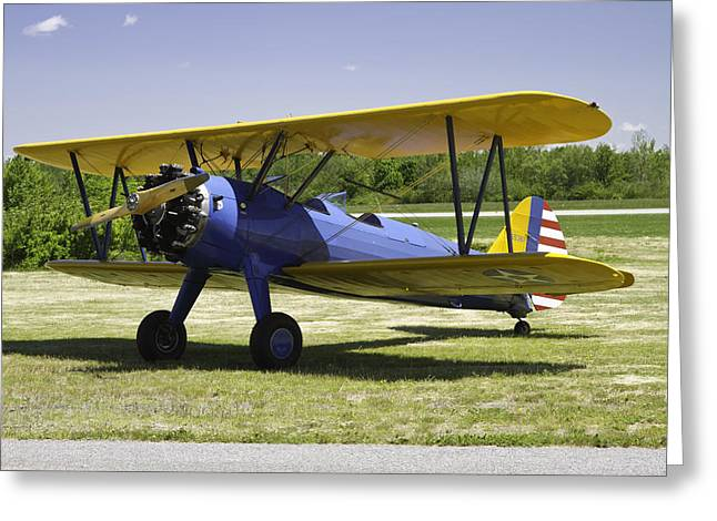 Airfield Greeting Cards - 1941 Stearman A75N1 Biplane Airplane  Greeting Card by Keith Webber Jr