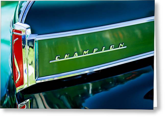 Collector Hood Ornament Greeting Cards - 1941 Sudebaker Champion Coupe Emblem Greeting Card by Jill Reger