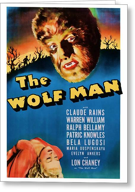 Suspense Mixed Media Greeting Cards - 1941 The Wolf Man Vintage Movie Art Greeting Card by Presented By American Classic Art