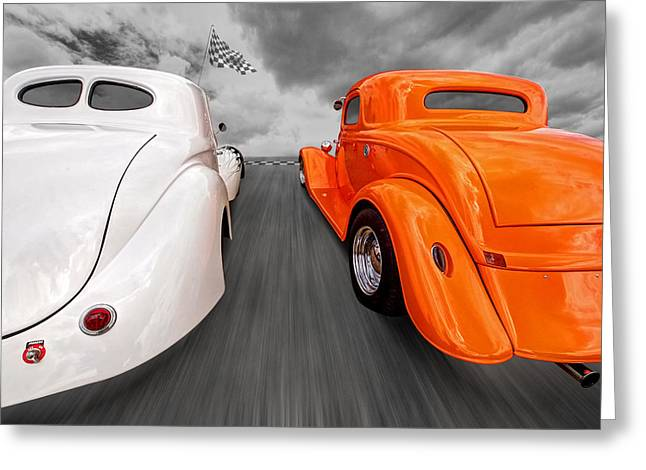 Willys Greeting Cards - 1941 Willys vs 1934 Ford Coupe Greeting Card by Gill Billington