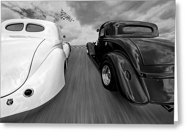 1930s Decor Greeting Cards - 1941 Willys vs 1934 Ford Coupe in Black and White Greeting Card by Gill Billington