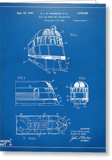 Caboose Greeting Cards - 1941 Zephyr Train Patent Blueprint Greeting Card by Nikki Marie Smith