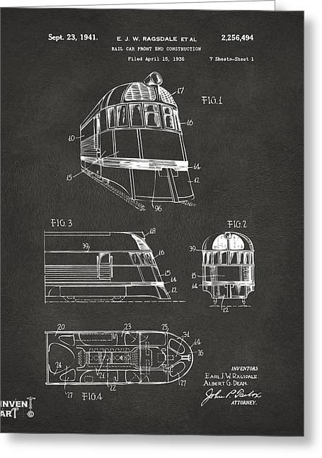 Caboose Greeting Cards - 1941 Zephyr Train Patent Gray Greeting Card by Nikki Marie Smith