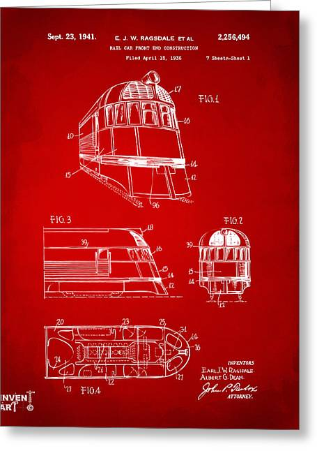 Train Greeting Cards - 1941 Zephyr Train Patent Red Greeting Card by Nikki Marie Smith
