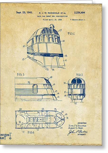 Caboose Greeting Cards - 1941 Zephyr Train Patent Vintage Greeting Card by Nikki Marie Smith