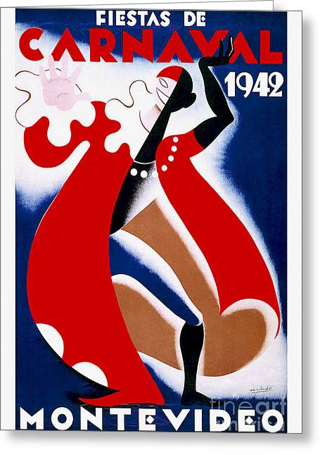 Habana Greeting Cards - 1942 Carnaval Vintage Travel Poster Greeting Card by Jon Neidert
