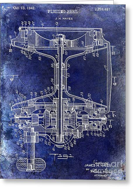 Naples Greeting Cards - 1942 fishing Reel Patent Drawing Blue Greeting Card by Jon Neidert