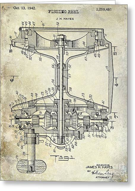 Naples Greeting Cards - 1942 fishing Reel Patent Drawing Greeting Card by Jon Neidert
