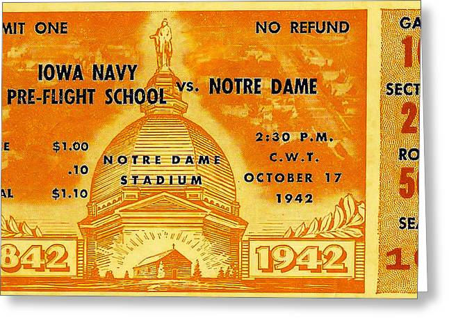 Sports Memorabilia Greeting Cards - 1942 Football Ticket Notre Dame vs Iowa Navy Pre-Flight Greeting Card by David Patterson