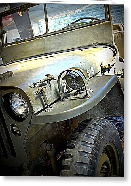 Olive Green Greeting Cards - 1942 Ford U.S. Army Jeep l Greeting Card by Michelle Calkins