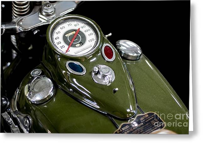 Ww11 Photographs Greeting Cards - 1942 Harley Davidson Instrument Panel Greeting Card by Barbara McMahon