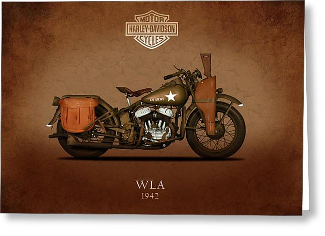 Glide Greeting Cards - 1942 Harley Davidson WLA Greeting Card by Mark Rogan