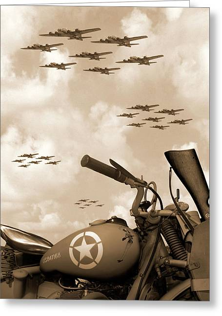 Motorcycle Digital Art Greeting Cards - 1942 Indian 841 - B-17 Flying Fortress Greeting Card by Mike McGlothlen
