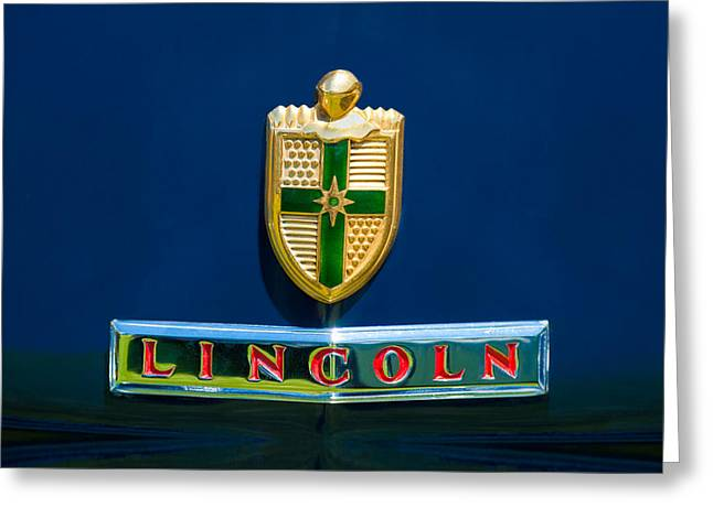 Pebble Beach Car Show Greeting Cards - 1942 Lincoln Continental Cabriolet Emblem Greeting Card by Jill Reger