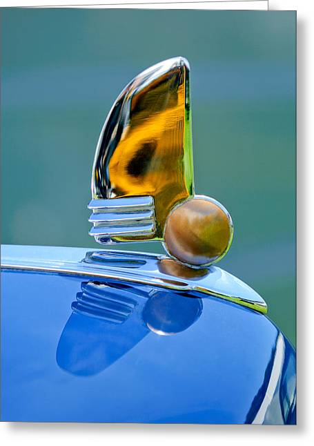 1942 Greeting Cards - 1942 Lincoln Continental Cabriolet Hood Ornament Greeting Card by Jill Reger