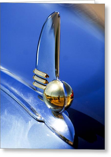 1942 Greeting Cards - 1942 Lincoln Zephyr 12 Hood Ornament Greeting Card by Jill Reger