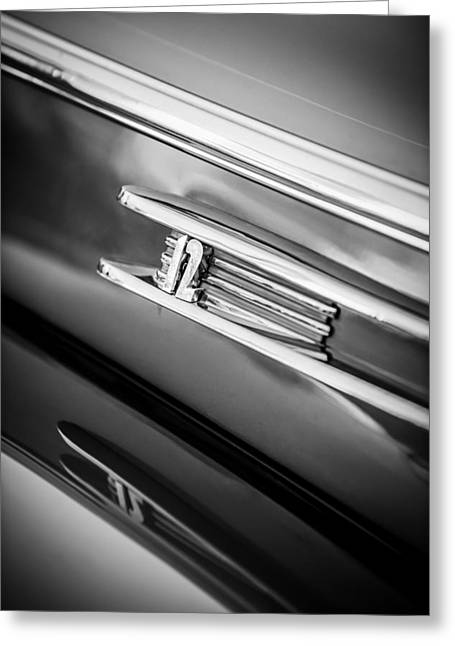 Famous Photographers Greeting Cards - 1942 Lincoln Zephyr Coupe Emblem -1215bw Greeting Card by Jill Reger