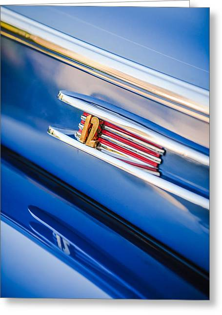 1942 Greeting Cards - 1942 Lincoln Zephyr Coupe Emblem -1215c Greeting Card by Jill Reger