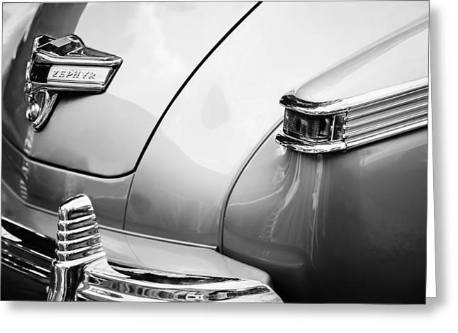 1942 Greeting Cards - 1942 Lincoln Zephyr Coupe Taillight Emblem -1516bw Greeting Card by Jill Reger