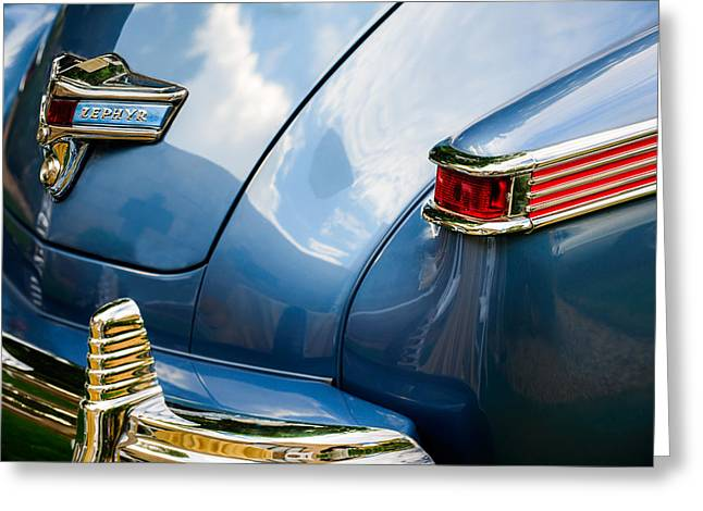 1942 Greeting Cards - 1942 Lincoln Zephyr Coupe Taillight Emblem -1516c Greeting Card by Jill Reger