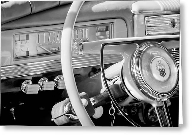 Steering Greeting Cards - 1942 Packard Darrin Convertible Victoria Steering Wheel Emblem Greeting Card by Jill Reger