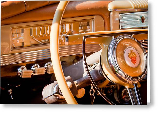 1942 Greeting Cards - 1942 Packard Darrin Convertible Victoria Steering Wheel Greeting Card by Jill Reger