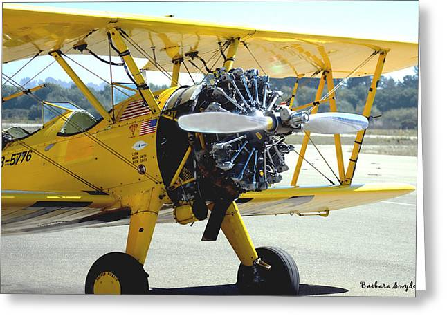 Airplane Prop Greeting Cards - 1943 Boeing Super Stearman 2 Greeting Card by Barbara Snyder
