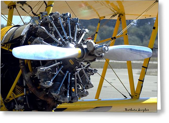 Airplane Prop Greeting Cards - 1943 Boeing Super Stearman Greeting Card by Barbara Snyder