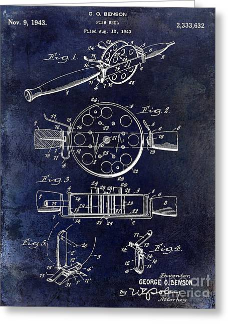 Naples Greeting Cards - 1943 Fishing Reel Patent Drawing Blue Greeting Card by Jon Neidert