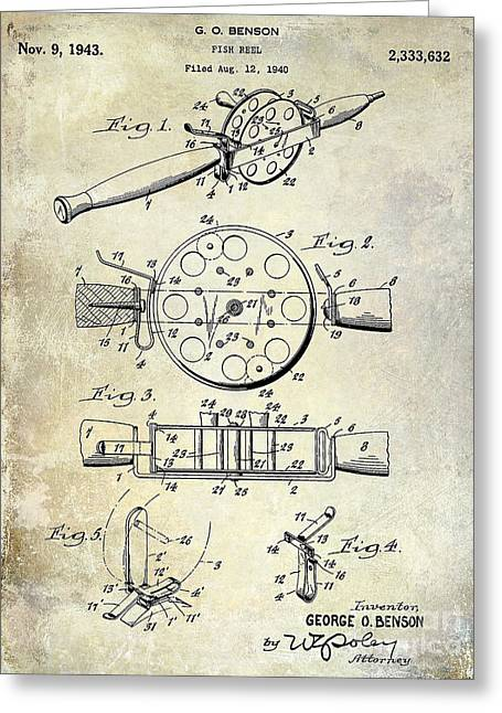 Naples Greeting Cards - 1943 Fishing Reel Patent Drawing Greeting Card by Jon Neidert