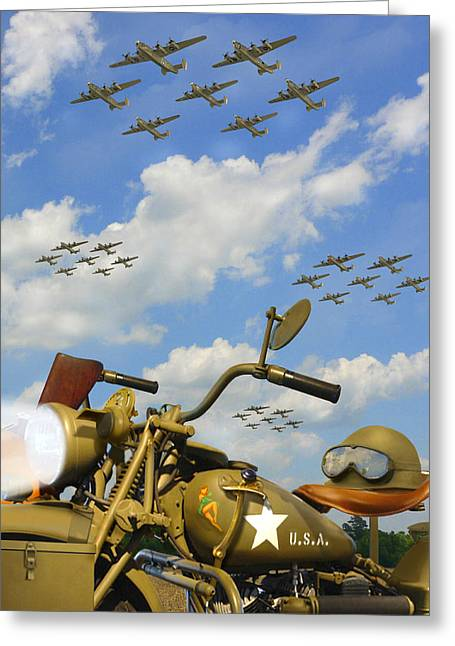 Gun Fighter Greeting Cards - 1943 Harley WFC with B - 24 Liberators 2c Greeting Card by Mike McGlothlen