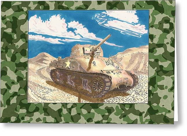 Army Tank Greeting Cards - 1943 Sherman M 4 H V S S Medium Tank Greeting Card by Jack Pumphrey