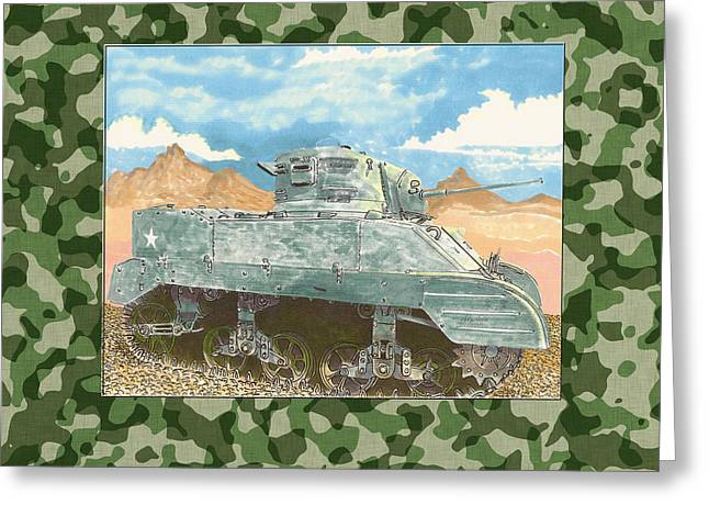 Army Tank Greeting Cards - 1943 Sturat M 5 Light Combat Tank Greeting Card by Jack Pumphrey