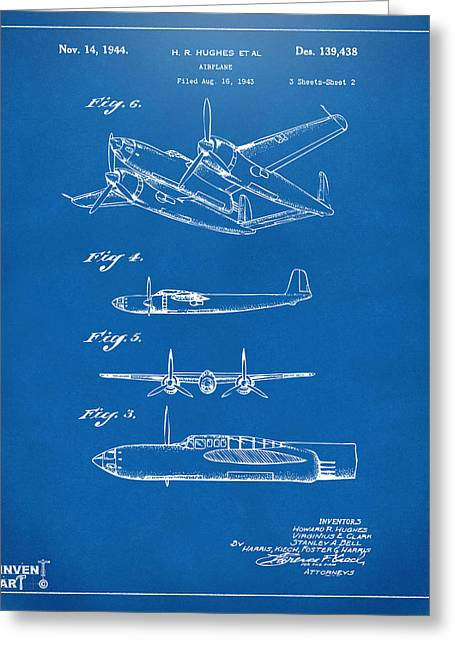 Vintage Air Planes Greeting Cards - 1944 Howard Hughes Airplane Patent Artwork 2 Blueprint Greeting Card by Nikki Marie Smith