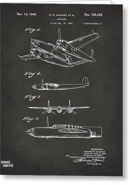 Vintage Air Planes Greeting Cards - 1944 Howard Hughes Airplane Patent Artwork 2 - Gray Greeting Card by Nikki Marie Smith