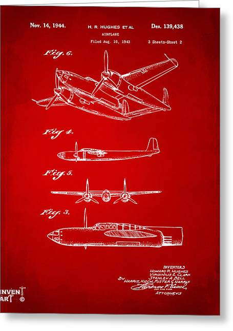 Howard Greeting Cards - 1944 Howard Hughes Airplane Patent Artwork 2 Red Greeting Card by Nikki Marie Smith