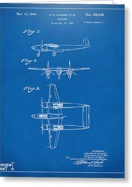 Howard Greeting Cards - 1944 Howard Hughes Airplane Patent Artwork 3 Blueprint Greeting Card by Nikki Marie Smith