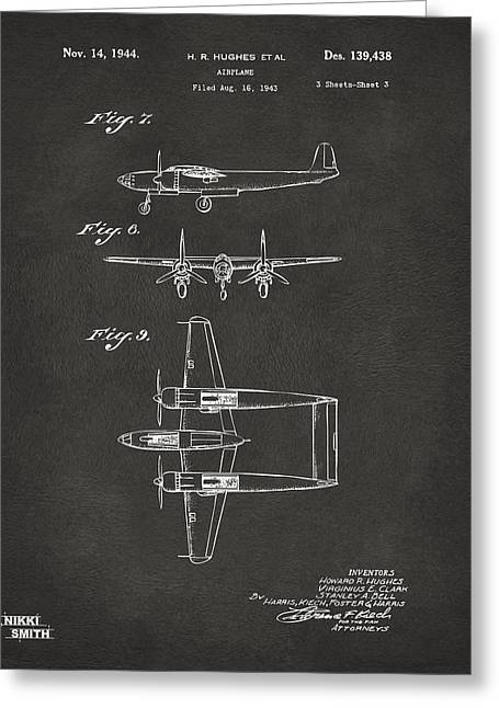 Howard Greeting Cards - 1944 Howard Hughes Airplane Patent Artwork 3 - Gray Greeting Card by Nikki Marie Smith