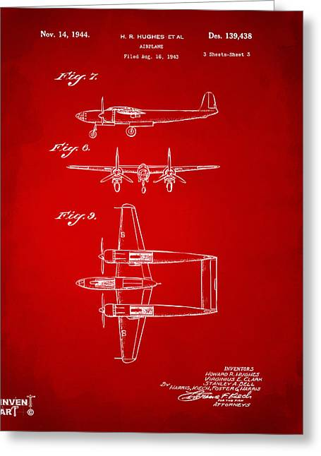 Howard Greeting Cards - 1944 Howard Hughes Airplane Patent Artwork 3 Red Greeting Card by Nikki Marie Smith