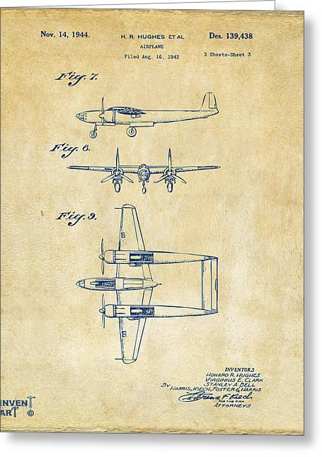 Howard Greeting Cards - 1944 Howard Hughes Airplane Patent Artwork 3 Vintage Greeting Card by Nikki Marie Smith