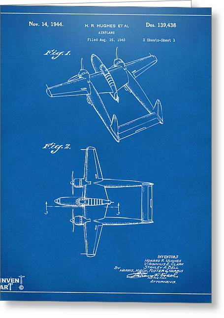 Howard Greeting Cards - 1944 Howard Hughes Airplane Patent Artwork Blueprint Greeting Card by Nikki Marie Smith