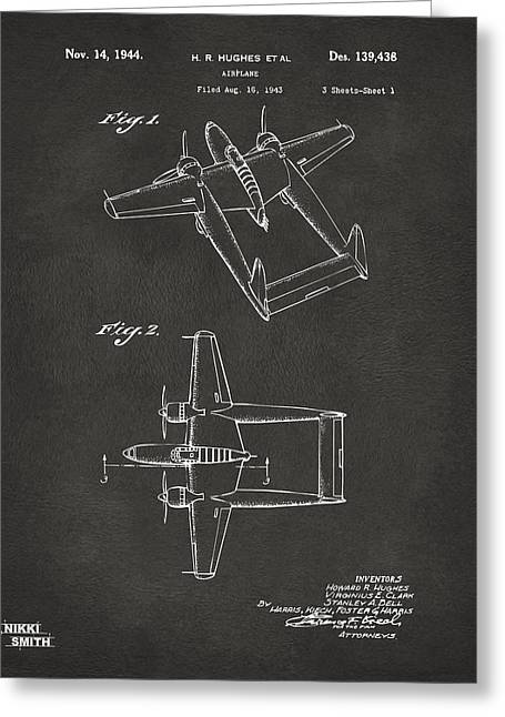Howard Greeting Cards - 1944 Howard Hughes Airplane Patent Artwork - Gray Greeting Card by Nikki Marie Smith