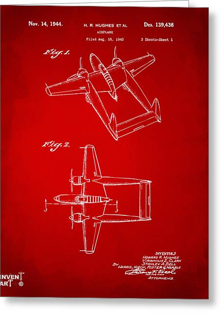 Howard Greeting Cards - 1944 Howard Hughes Airplane Patent Artwork Red Greeting Card by Nikki Marie Smith