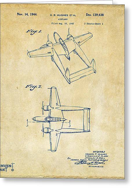 Airplane Greeting Cards - 1944 Howard Hughes Airplane Patent Artwork Vintage Greeting Card by Nikki Marie Smith