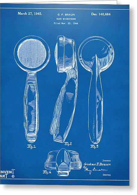 1944 Microphone Patent Blueprint Greeting Card by Nikki Marie Smith