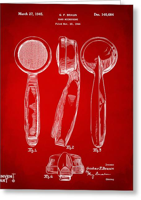 1944 Microphone Patent Red Greeting Card by Nikki Marie Smith